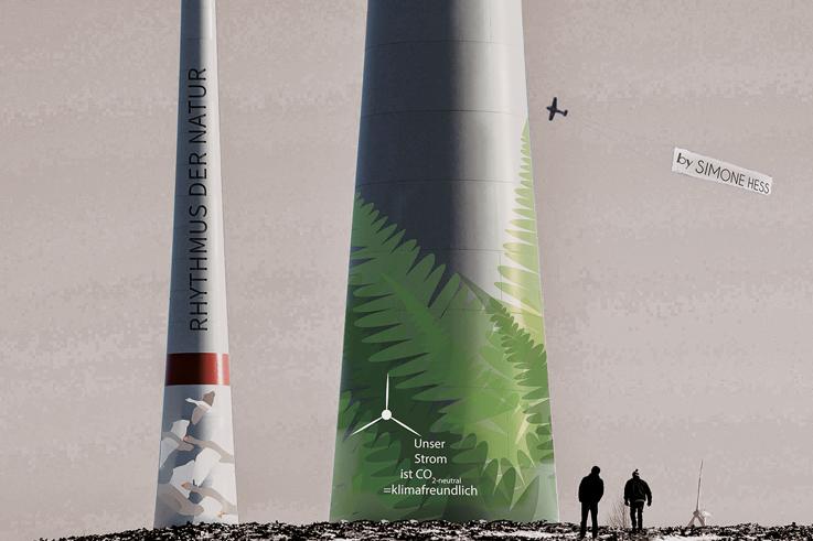 Gestaltung an Windkraftanlagen - Farn