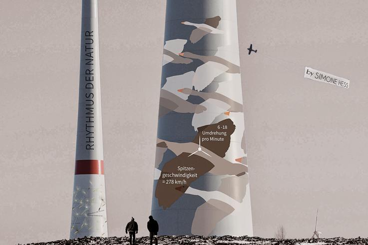 Gestaltung an Windkraftanlagen - Wildgans