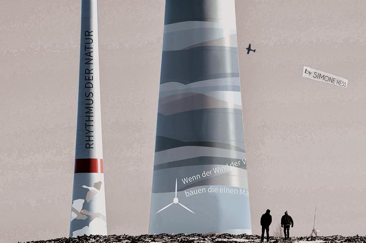 Gestaltung an Windkraftanlagen - Gebirge