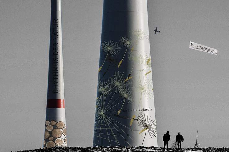 Gestaltung an Windkraftanlagen -Pusteblume